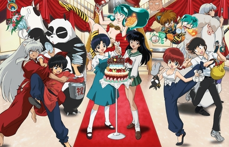 heres a فہرست of my fav animes: InuYasha ranma 1/2 urusei yatsura mermaid saga maison ikkoku one pound gospel spice and بھیڑیا death note ouran high school host club elfen lied fortune arterial soul eater (everything from inuyasha to one pound gospel is made سے طرف کی rumiko takahashi. and the pic has some characters from inuyasha, urusei yatsura, and ranma 1/2)