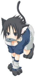 Sasuke as a kitty with his fish.
