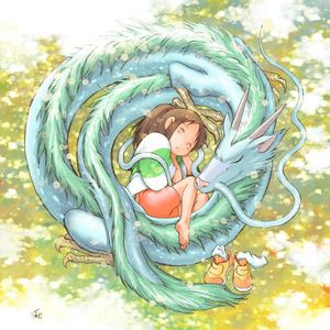 Spirited Away; Kohaku (the dragon) and Chihiro (the girl). I hope あなた like it! <3