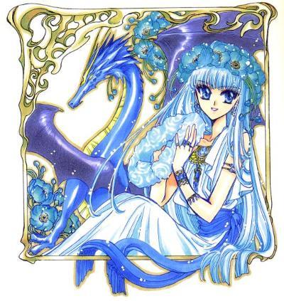 umi and her blue dragon from magic knights rayearth..