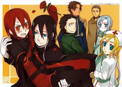 the crackers (demon hunters) of bara no maria (from left to right) maria rose, azian, katari, tomato-kun, pimpernel,(pimp) safinia, and yurika,