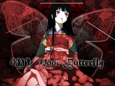 they aren't ángel wings but they are wings. i hope this counts. Ai Enma from jigoku shoujo.