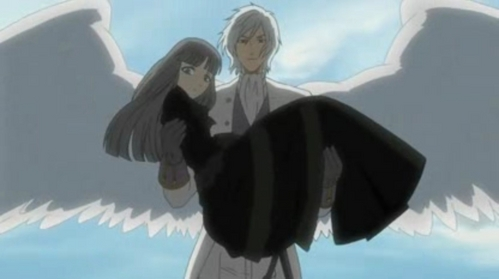 "ash/angela of kuroshitsuji he doesn't just HAVE ángel wings he is a angel....but a really evil one ""the pain is a gift!!"" (the one he is holding is the queen)"