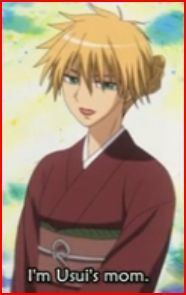 Usui as Misaki imagining his mother xD i like this cause it's like Usui wears make up and a dress with tied hair xD