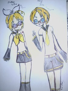 Since I'm terrible at drawing Furuba, here's a drawing of America and Canada from Хеталия dressed up as Len and Rin Kagamine! I drew it hyped up on sugar at a sleepover XD. But at least I took the time to ink it with a pen and color it in... (Sorry 'bout the flash, took this with my phone >.< The little signature just says Nati Charm, which is how I sign everything)