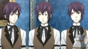 Cant remember their names. The triplet butlers from Black Butler.
