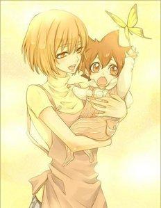 It's Tsuna from Katekyo Hitman Reborn with his mother carrying him...KAWAII~~