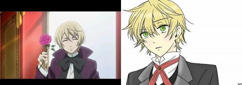 Alois Trancy from black butler (left) and Oz Bezarius from Pandora Hearts (right).