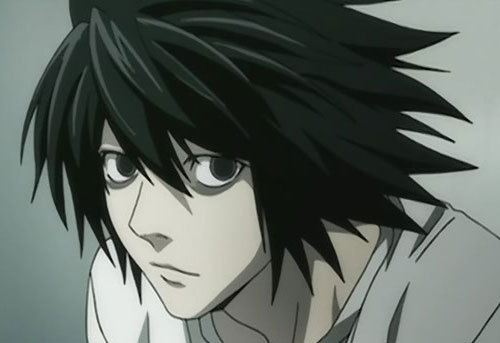 Here's a picture of l from Death Note.