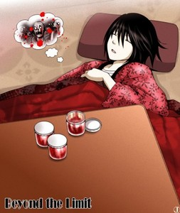 sure, here's a picture of beyond birthday from death note. despite the fact he is a serial killer, the jars of red stuff on the 表 is not blood, it's 草莓 jam. His favorite.