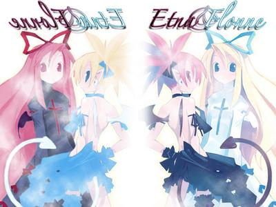 Etna (a demon -- red hair) and Flonne (an Angel -- blonde) from Disgaea... on the left side, they switch colour schemes ^_^
