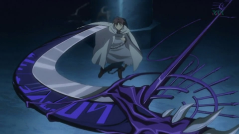 I'm surprised that no-one put Frau. Frau's scythe attacking Teito.