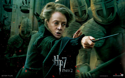 Minerva McGonagall ! I'd like to be like her physically at her age. LOL (Or rather like Maggie Smith.) Though Luna and Hermione and Ginny provide good role models for girls.