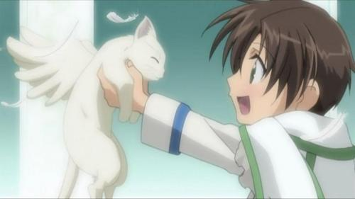 Young Teito with a flying cat. X3