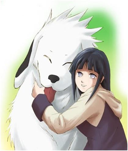 Akamaru with Hinata