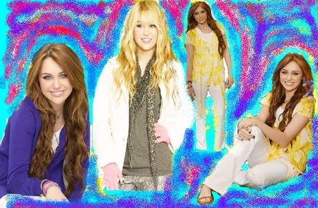 Post a wolpeyper of miley and hannah both which you have made yourself