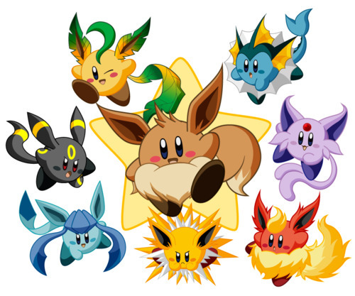 What Kriby form is the cutest? umbreon vaporeon espeon jolteon vaporeon flareon leafeon au eevee