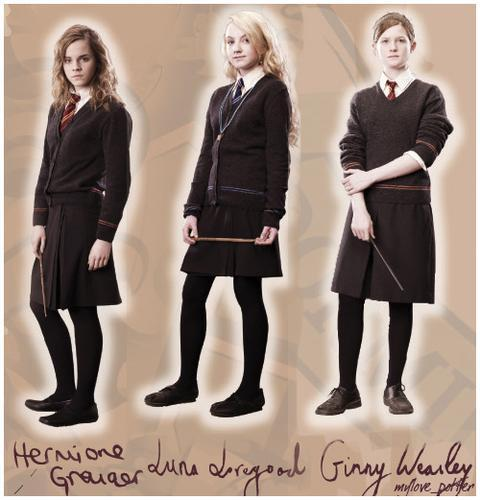 I think, I have a bit of the three Harry Potter Girls: 1.Ginny Weasley: 'cause I'm a true Gryffindor like her.(and because I love Harry too) 2.Luna Lovegood: I really don't mind what people say. 3.Hermione Granger: I like a lot the creatures and I don't enjoy making mistakes at class. There are other reasons, but these are the most important.