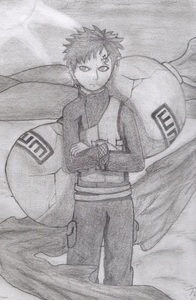 I drew this, its my পছন্দ character Gaara during Naruto's timeskip. im pretty proud of it, because the shading is just right, the background is perfect, and the pose is well drawn.