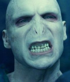 Voldemort. Wanna know why? ... NO NOSE. GAH! Isn't it terrifying?!