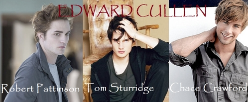 1. Robert Pattinson 2. Tom Sturridge 3. Chace Crawford though there are probably actors out there that i havent seen who would be better- but Rob is totally like the edward in my head (apperance wise) especially in twilight