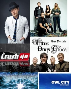 tobyMac, Skillet, Crush 40, Three Days Grace, Dragonforce, and Owl City!! Not in any particular order. (If I were to put them in order of faves it'd be Crush 40, Skillet, Three Days Grace, tobyMac, Owl City, and Dragonforce.)