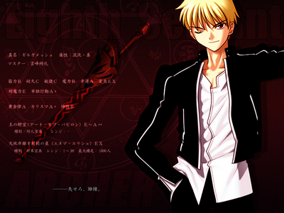 the coolest Anime character for me is gilgamesh from fate/stay night.
