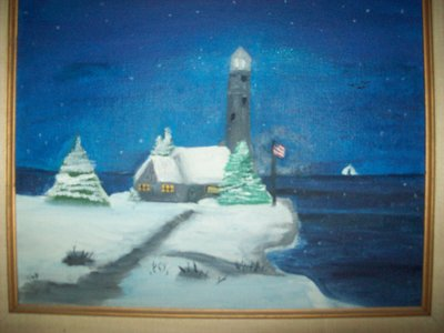 When I was in like 5th grade, I painted this picture of a کیبن on the cliff of the ocean with a lighthouse behind it, at night in the winter time. My parents absolutely love, but I find it embarrasing because I wasn't that great of an artist. Here it is... :/