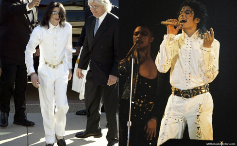 I really like this one on the left that he wore during the trial.... He looks so amazing, I 사랑 the way he looks in a suit. It kinda reminds me of the Working 일 and Night outfit he wore on the Bad Tour. But I also 사랑 the Black 또는 White outfit, with the white 셔츠 & black pants, so beautiful!! Oh and I also 사랑 that all white outfit he wore during the 음악회, 콘서트 in 2001 <33