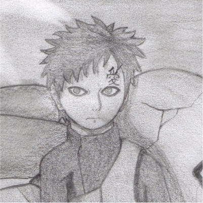 It's a drawing of Gaara from naruto that i made. This is just a closeup of his face, the real picture is full-bodied.