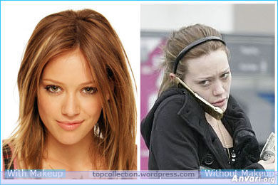 well many famous without make up are ungly as Hilary Duff xD