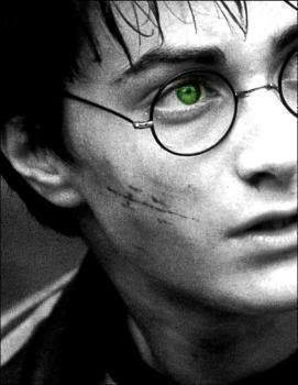 Daniel Radicliffe as Harry Potter, with the RIGHT color of eyes. (Green, not blue.) I wish they would've made him wear green contacts.