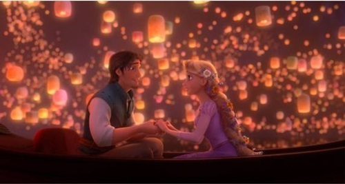 My favorite scene when they realize they're falling in love. I love that scene because of the way Flynn and Rapunzel look at each other;