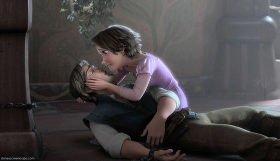 In Tangled Rapunzel loses her long blonde hair as Eugene chopped it all off. He sort of dies and her tears of sadness brings him back to life.