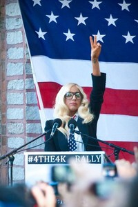 Lady GaGa delivers her speech.