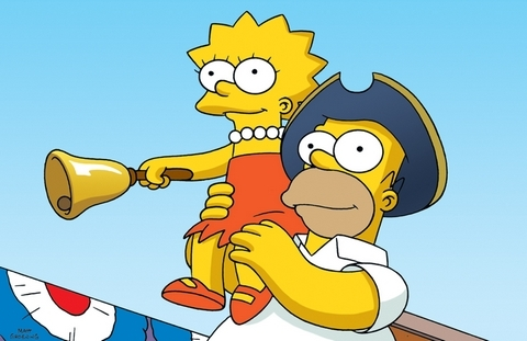 Homer the town crier in 'Lisa the iconoclast'