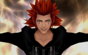 Axel bathed in flames.