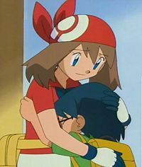 May and Max hug. (Again, picture May in her Sinnoh outfit.)