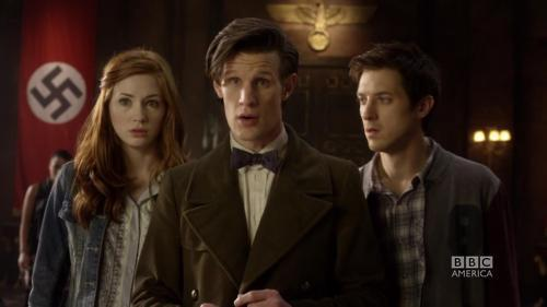 Amy, the Doctor & Rory get a surprise as the TARDIS crashes into Hitlers office...