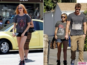 Rocker T-shirts and short-shorts seemed to be the trend for two young Hollywood celebs.