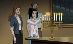 In X-men: Evolution, episode On Angel's Wings it is a Christmas episode, and one of the last scenes of the episode is Kitty and her parents lighting the menorah because they are Jewish.