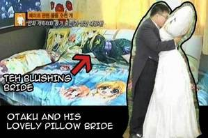 Korean Otaku marries his anime almohada Fate Testarossa