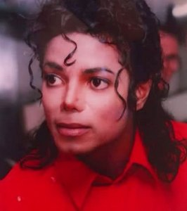 Michael in his प्रिय color, red