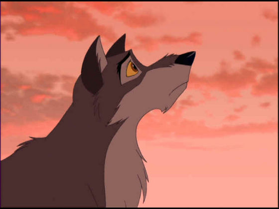 Balto after saying right looking out to the sunset