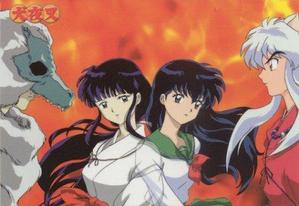Priestesses Kikyo and Kagome between Naraku and InuYasha