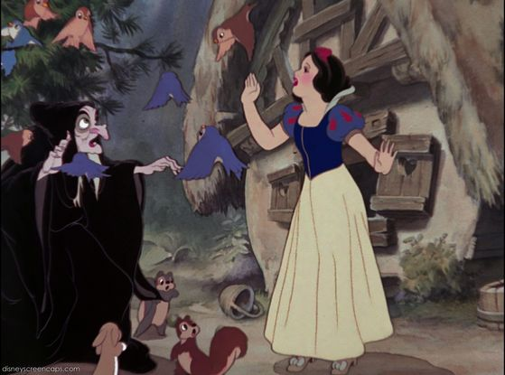 Snow White shoos the birds