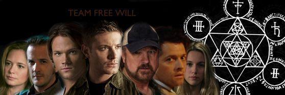 Main Characters, left to right: Ellen Harvelle, Gabriel/The Trickster, Sam Winchester, Dean Winchester, Bobby Singer, Castiel, Jo Harvelle