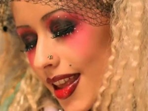 "Christina in ""Moulin Rouge"" getting ready to sing ""Lady Marmalade"""