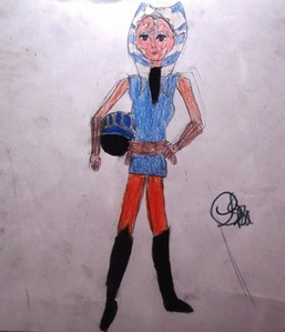 A picture of Ahsoka I drew dressed as a Naboo Pilot