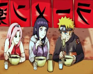 Naruto and the girls at the ramen Shop